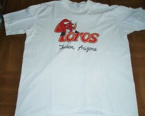 VINTAGE TUCSON TOROS WHITE T-SHIRT- SIZE XL - DEFUNCT MINOR LEAGUE TEAM