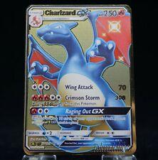 Carte Pokemon Metal Gold Charizard Dracaufeu GX Full Art Card Fan Made / Shiny