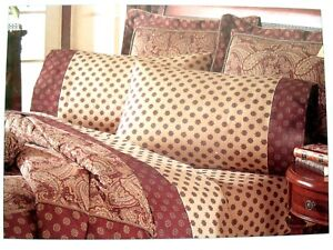 NWT WAVERLY Twin Size GARDEN ROOM Brwn Beige PAISLEY MANOR Sheet Set Pillowcases