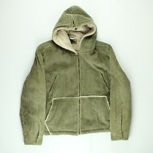 Extreme Air Blues Mens Corduroy Sherpa Sport Borg Coat Cord Bomber Beige Size XL