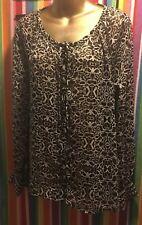 Jessica Simpson Black & White Long Sleeve Dress shirt top blouse Size S Small