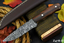 Custom Damascus Steel Hunting Knife Handmade With Walnut Handle (Z478-H)