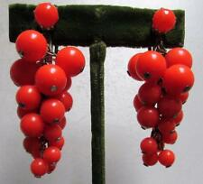 Vintage 50's Chunky Plastic Bead Drop Cluster Clip On Earring Orange