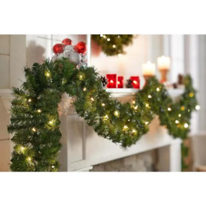 18 Ft Pre-Lit Artificial Christmas Garland with 280 tips and 70 White Lights