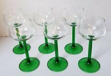 Vintage JG Durand Luminarc Green Stem Cordials Wine Glasses France Set Of 6
