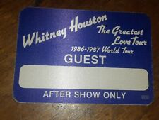 Whitney Houston 1986 Tour Backstage Pass! Unpeeled!  Rare!