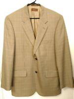 Men's 40R Tasso Elba Tan Multi-Color Houndstooth Wool 2 Button Sport Coat Jacket
