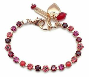 Mariana 2140 Firefly Small Pink & Red Swarovski Crystal Gold Plated Bracelet NWT