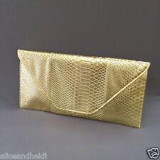 Large Envelope Gold Clutch Snakeskin Print Detachable Button Strap Purse