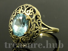 C010 VINTAGE style Genuine 9ct Gold Filigree NATURAL Topaz Cocktail Ring yr size