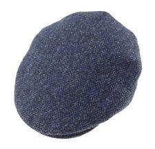 Gents Authentic Harris Tweed  Cap Navy Herringbone Available In S-XXL Sizes