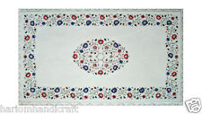 4'x2' White Marble Dining Table Top Lapis Inlay Gems Mosaic Art Patio Decor H637