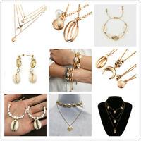 Fashion Women Gold Shell Cowrie Pendant Choker Necklace Bracelet Beach Jewelry