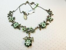NEW $175 Michal Negrin Stunning Green Flower Drop and Bows Statement Necklace