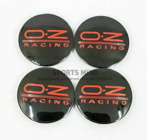 4x62mm Oz Racing Wheel Center Hub Caps Rim Caps Badges Emblems Black Red M595
