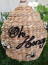 "Kate Spade New York ""Beehive & Bee - Oh Honey"" Straw Wristlet Bag, NWT"