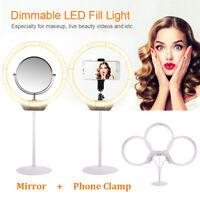 Beauty Light Dimming Desktop LED Ring Light 7.5W + Mirror for Makeup Photo OG011