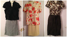 Women floral prints Tops checked beige brown Skirt Job Lot size 12-16