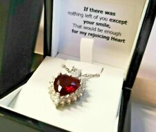 White gold finish heart cut cluster red ruby and created diamond necklace Gift