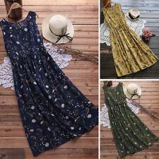 ZANZEA 10-24 Women Sleeveless Long Maxi Sundress Robe Vintage Boho Floral Dress