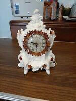 Vintage Ornate Victorian Ceramic Mantle Clock copper maple leaf Decor Style