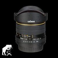 Dörr Fisheye Objektiv 8mm 1:3,5 für Sony Alpha A300 A39 A37 A55 A57 A58 A65 A77