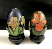 🟩 Set of 2 Vintage Hand Painted Lacquer w/ Gold IRIS FLOWERS Decorative Egg