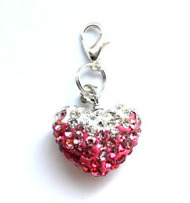 Pink Silver Rhinestone Love Heart Clip On Charms Pendant Free Gift Bag New