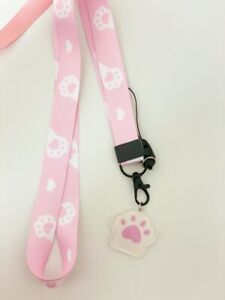 Kawaii Funny Pink Cat Kitten Soft Paws Meow 😺 Lovers Lanyard ID Mobile Charm
