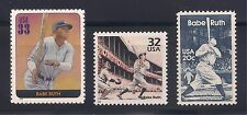 BABE RUTH - YANKEES - COMPLETE SET OF 3 U.S. POSTAGE STAMPS - MINT CONDITION