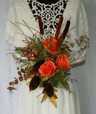 Orange Autumn Rustic Antlered Silk Wedding Bouquet