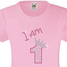 """Ragazza compleanno T-Shirt """"I am 1"""" Strass Abbellito Bellissimo Sorpresa Regalo"""
