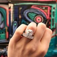 2Ct Cushion-Cut Diamond Halo Bridal Set Engagement Ring 14K White Gold Finish