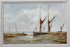 Alan Whitehead (b.1952) firmada pintura acuarela de Vela barcazas #2