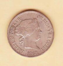 1868 SPAIN Philippines ISABELLA 50 centavos XF-AU SILVER coin