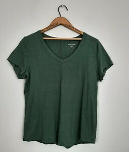 Eileen Fisher 100% Organic Cotton V Neck T Shirt Sz M Jade Green Short Sleeve