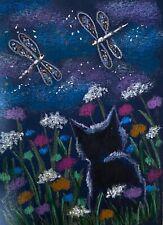 ACEO Orig  Black Cat  Spring  Field Flowers Dancing Dragonflies Impressionism