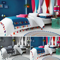 LUXURY DUVET COVER WITH PILLOW CASES TASSEL BEDDING SET SINGLE DOUBLE KING SIZE