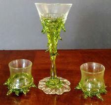 ART GLASS Hand Blown Unique Thorn Motif Set 1-Wine Glass & 2 Shots, Nice!