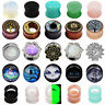 PAIR Ear Flesh Tunnels Plugs Saddle Double Flare Gauges Body Piercing Choose