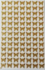 91 Sticky Self Adhesive Glittery Gold BUTTERFLY Stickers 8 x 7mm