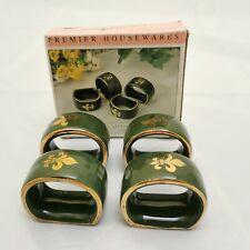 Vintage Irish Napkin Rings Holders. Green Emerald Design. By Premier Housewares.