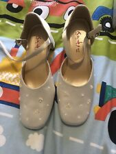 Rainbow Heeled Flowergirl Ivory Satin Shoes Size 12