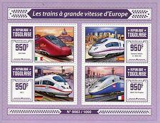 Togo 2015 Gomma integra, non linguellato Europeo treni ad alta velocità 4v M/S AGV ITALO TGV DUPLEX ICE F