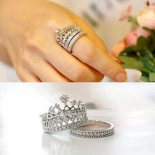 2Pc Women Ring New fashion Jewelry Top quality crystal crown finger ring set