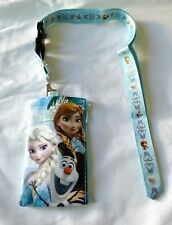 Disney Frozen LIGHT BLUE Wallet Lanyard Elsa Anna OLAF Cellphone Badge ID Holder
