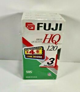 Fuji HQ 120 Pack of 3 VHS Cassette Tapes New Sealed