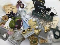 Pierced Earring Lot 25 Vtg Estate NWT New Enamel Rhinestone Signed