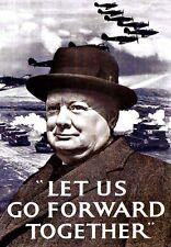 War Art Poster Let us go forward together W Churchill