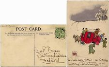 More details for gb 1905 hand drawn +painted card mail coach in snow christmas eve long eaton pmk
